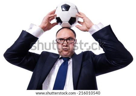Funny man with football isolated on white - stock photo