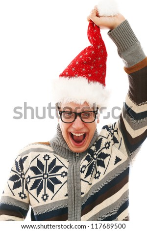 Funny man with glasses in christmas hat isolated on a wite - stock photo