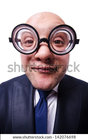 Funny man with glasses on white - stock photo