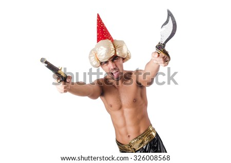 Funny man with knife isolated on white - stock photo
