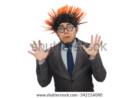 Funny man with mohawk hairstyle - stock photo