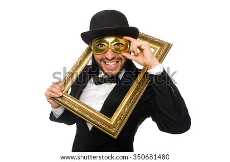 Funny man with picture frame on white - stock photo