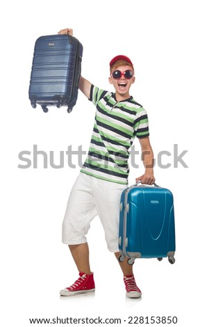Funny man with suitcase isolated on white - stock photo