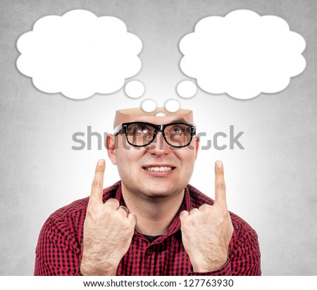 Funny man with the opened head - stock photo