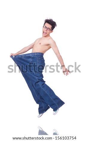 Funny man with trousers isolated on white - stock photo