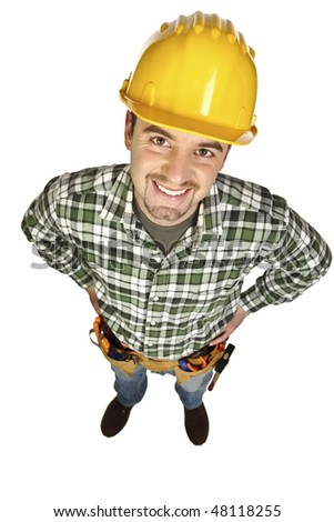 funny manual worker portrait isolated on white background - stock photo