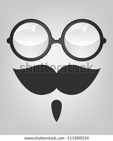 Funny mask retro sunglasses and mustache - stock photo