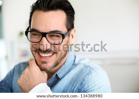 Funny mature man with beautiful smile - stock photo