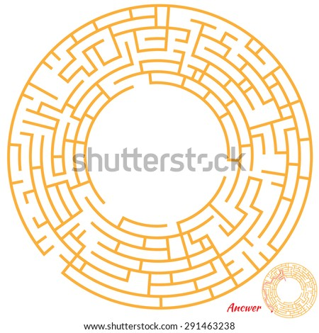 Funny Maze Game for kids. Maze or Labyrinth Game for Preschool Children. Maze puzzle with solution - stock photo