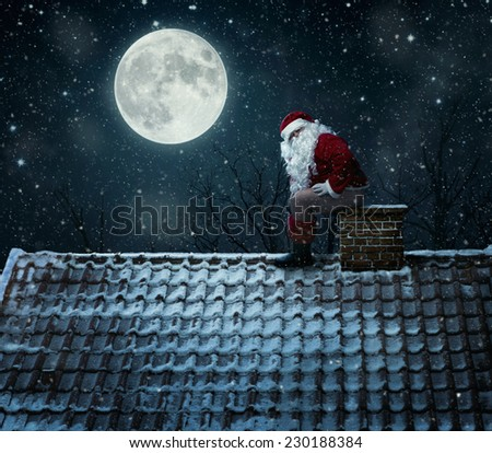 Funny, mean santa claus using chimney as a toilet - stock photo