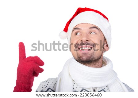Funny men in christmas hat, isolated on white - stock photo