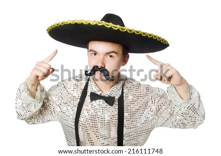 Funny mexican isolated on the white - stock photo