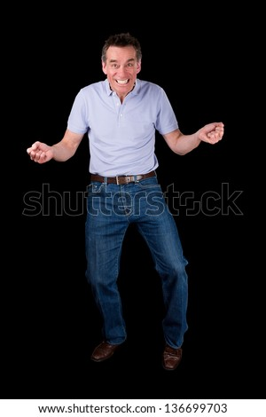 Funny Middle Age Man Dancing with Cheesy Grin Black Background