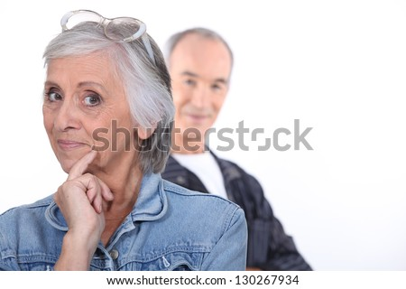 Funny middle-aged couple - stock photo