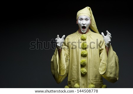funny mime show surprised face - stock photo