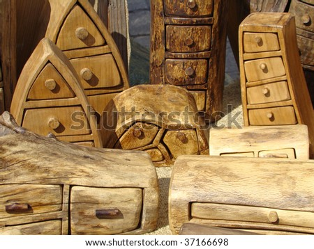 funny mini chests with drawers - stock photo