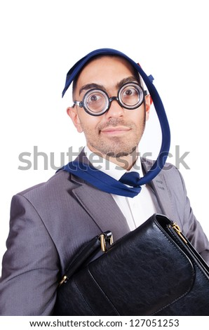Funny nerd businessman on the white