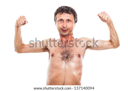 Funny nerd man showing his naked body, isolated on white background - stock photo