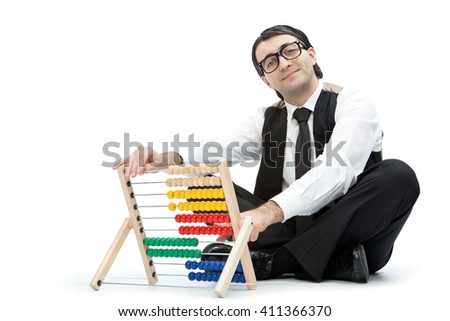 funny nerd man with an abacus isolated on white - stock photo