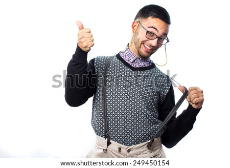 Funny nerd with thumbs up - stock photo