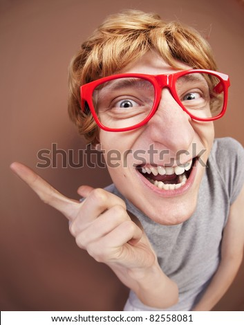 Funny nerdy guy - stock photo