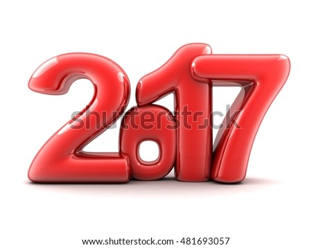 Funny new year 2017 (done in 3d rendering,white background )