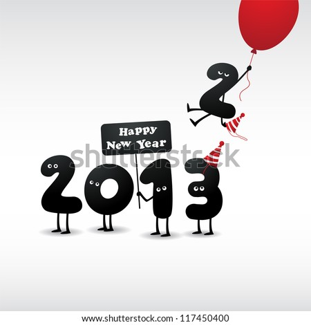 Funny 2013 New Year's Eve greeting card - JPG Version - stock photo