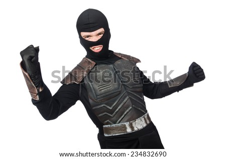 Funny ninja isolated on the white background