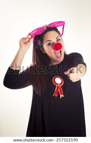 funny, nose, clown, girl, circus, carnival, red, fun, female, smile, party, happy, makeup, portrait, expression, wig, woman, colorful, play, humor, costume,  birthday,  - stock photo