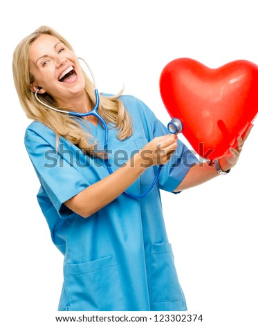 Funny nurse woman listening heart isolated on white background - stock photo