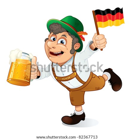 Funny Oktoberfest Man with Beer Stein and Flag of Germany. - stock photo
