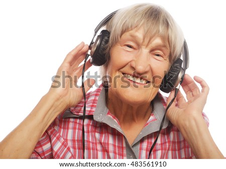 Funny old lady listening music
