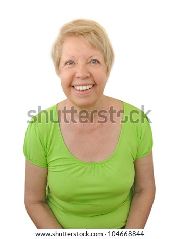 Funny old woman isolated on white background - stock photo