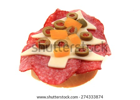 funny open sandwich with christmas tree isolated on the white background - stock photo
