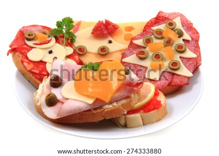 funny open sandwiches isolated on the white background - stock photo