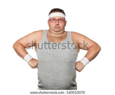 Funny overweight man flexing his muscle isolated on white background - stock photo