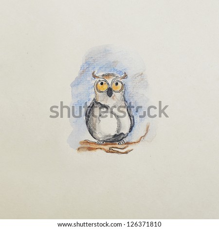 funny owl on a branch, a children's watercolor illustration - stock photo