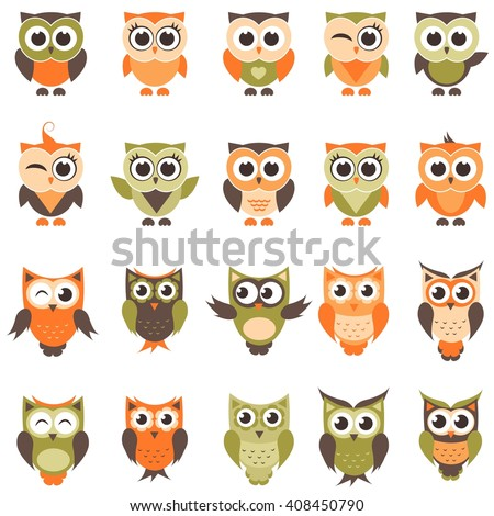 Funny owls and owlets set. Raster version - stock photo