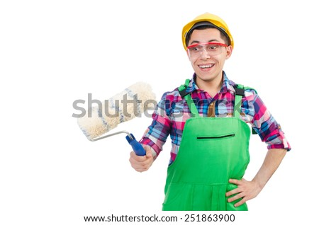 Funny painter isolated on white - stock photo