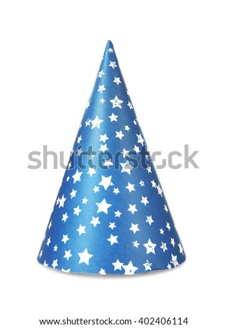 Funny party hat, isolated on white - stock photo