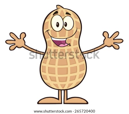 Funny Peanut Cartoon Character Wanting For Hug. Raster Illustration Isolated On White - stock photo