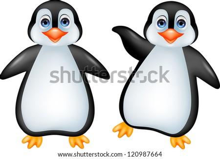 Funny penguin cartoon - stock photo