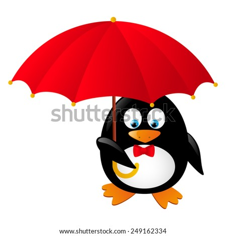 Funny penguin with red umbrella