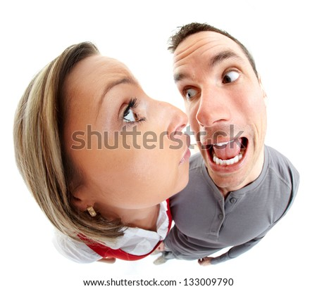 Funny people portrait fisheye caricature. Isolated on white background. - stock photo
