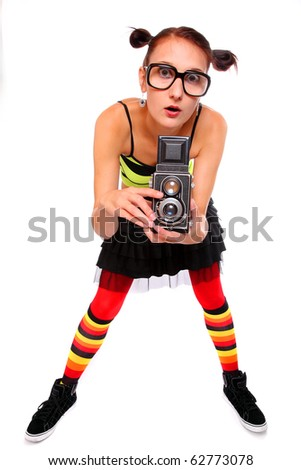 Funny photographer. - stock photo