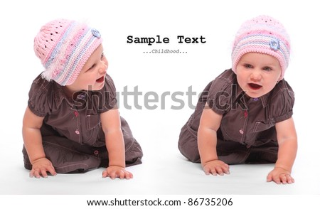 Funny picture of a cute sisters running on a white background with space for your text.