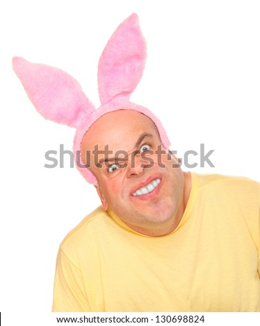 Funny picture of a man with rabbit ears. - stock photo