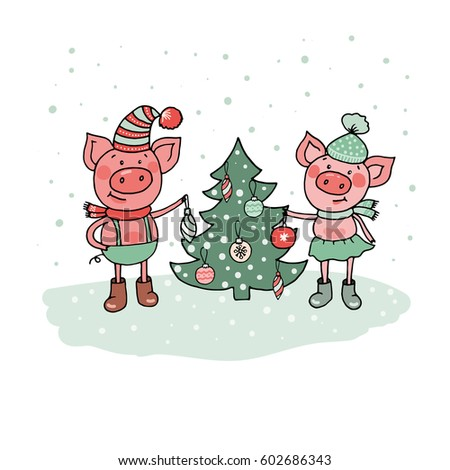 Funny pigs near christmas tree merry stock illustration 602686343 funny pigs near christmas tree merry christmas and happy new year xmas greeting card m4hsunfo