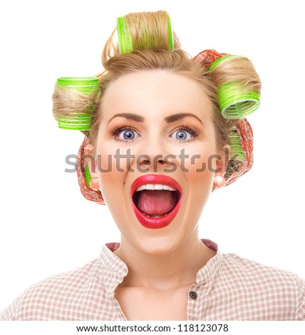 Funny pin-up girl screaming, close-up portrait isolated on white. Old / retro style portrait - shakeup / alarm - stock photo