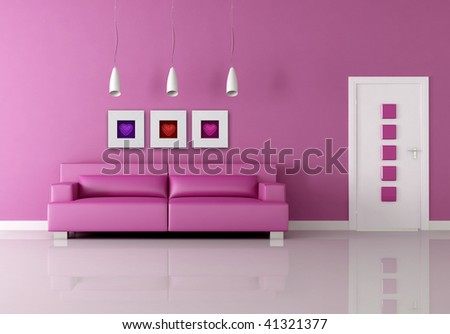 funny pink living room - rendering the images on wall are my rendering composition